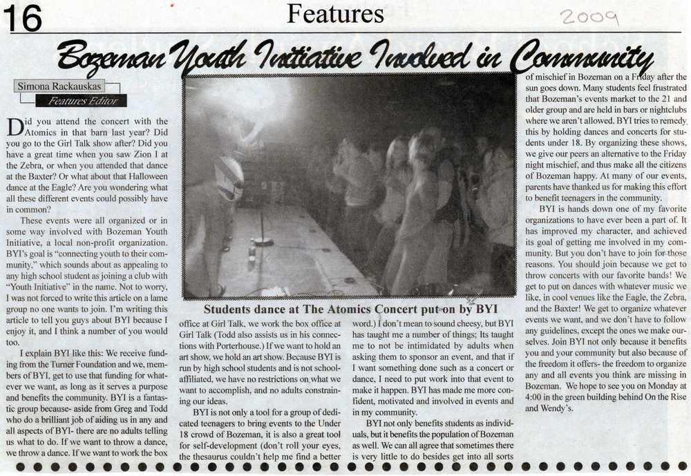 BHS Hawk Tawk article written by student volunteer Simona Rackaukas