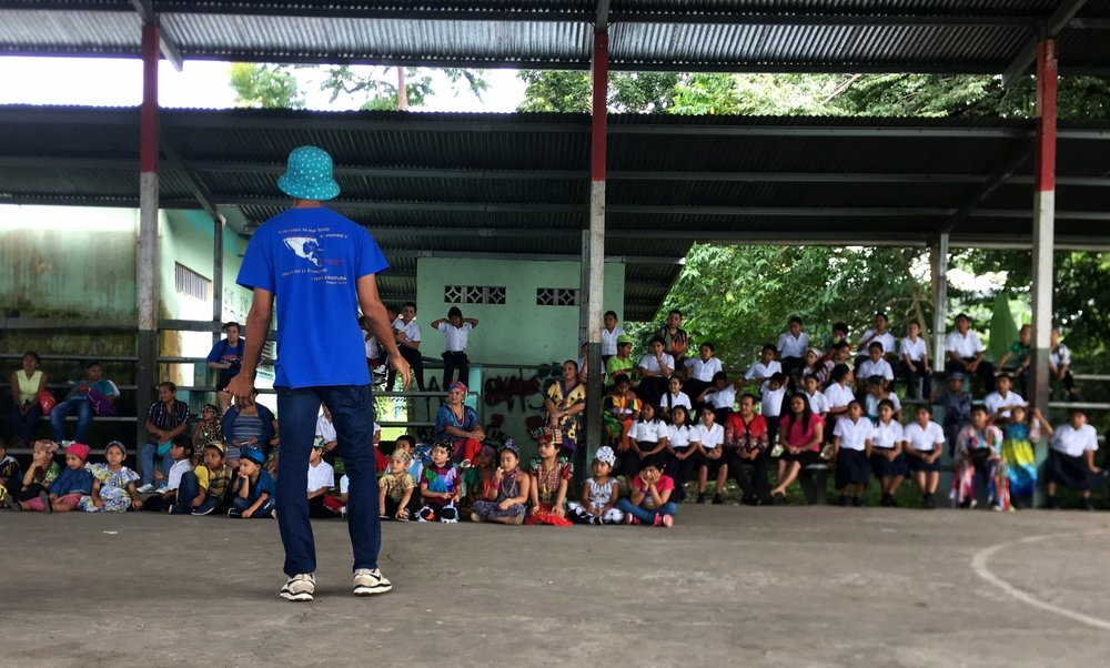 Ponchatoula High Senior Christian Reid speaking to students in Panama 2017.