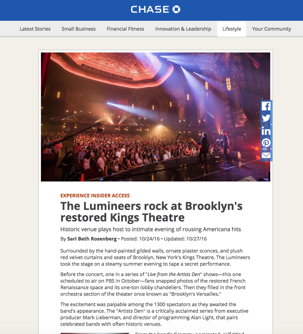 The Lumineers Rock at Brooklyn's Kings Theatre for Chase.com - By Sari Beth Rosenberg