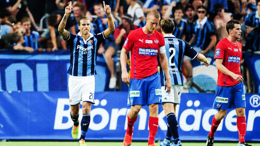Prijovic jublar efter 2-2 (bild från www.dif.se).
