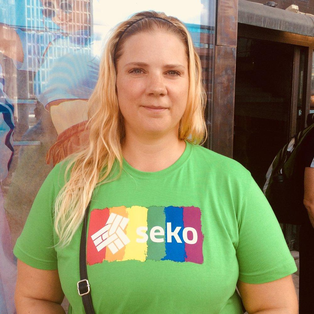 Bredvid mig på seminariet hade jag min fantastiska kollega Sandra Lindström som roddar nästan allt praktiskt arbete kring Sekos arrangemang under Prideveckan.