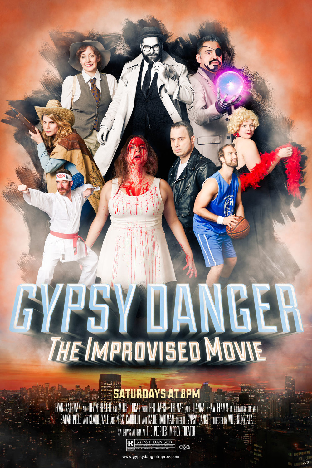 GYPSY DANGER - Gypsy Danger is a house team at the Peoples Improv Theater that improvises a movie every Saturday night! We've been a team for four wonderful years. They also let me live my dream of dressing like a basketball man.