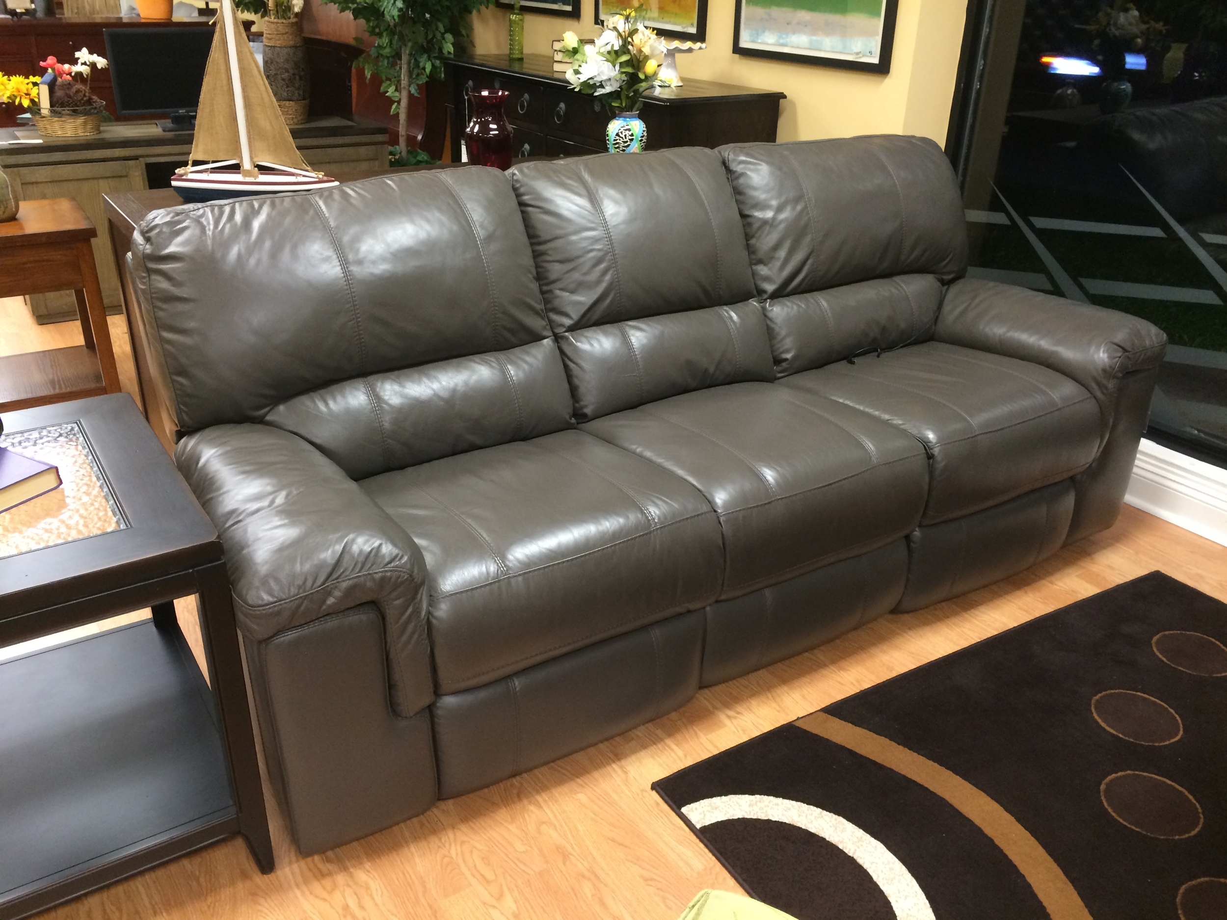 Thomasville Holbrook Gray Leather Motorized Recliner Sofa