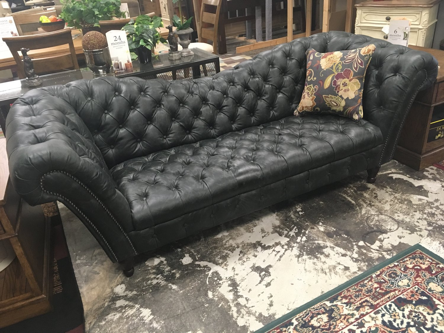 Four Hands Black Leather Tufted Fainting Sofa Sold Furnish This Fine Home Furnishings 3109 Hillsborough Road Durham Nc