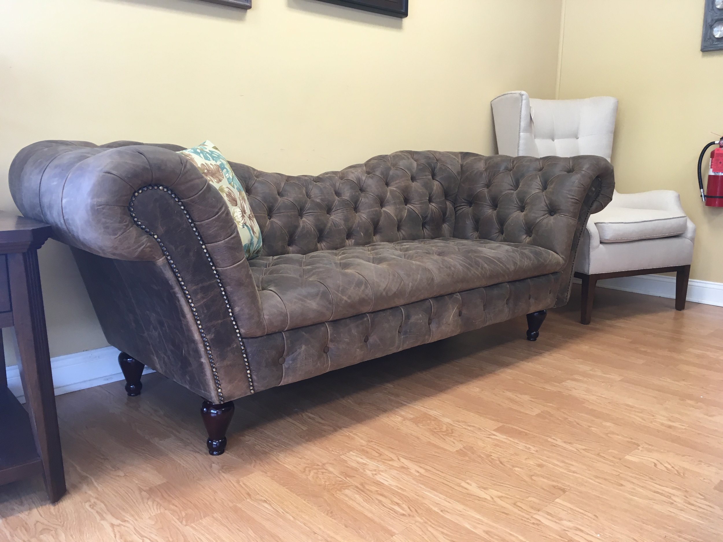 Four Hands Brown Leather Tufted Fainting Sofa