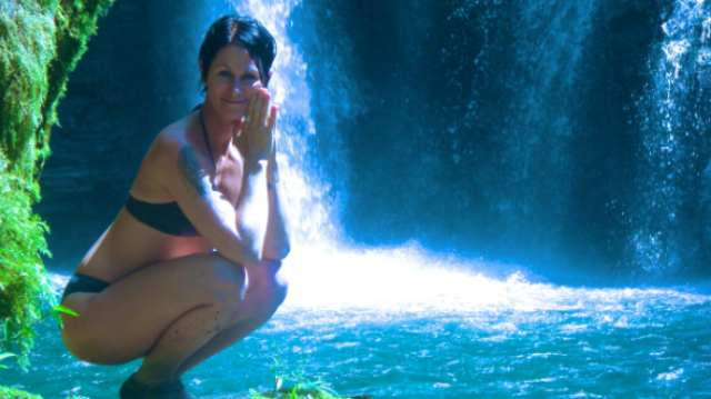 Heidi Michelle living yoga at Nauyaca Falls in Southern Costa Rica.
