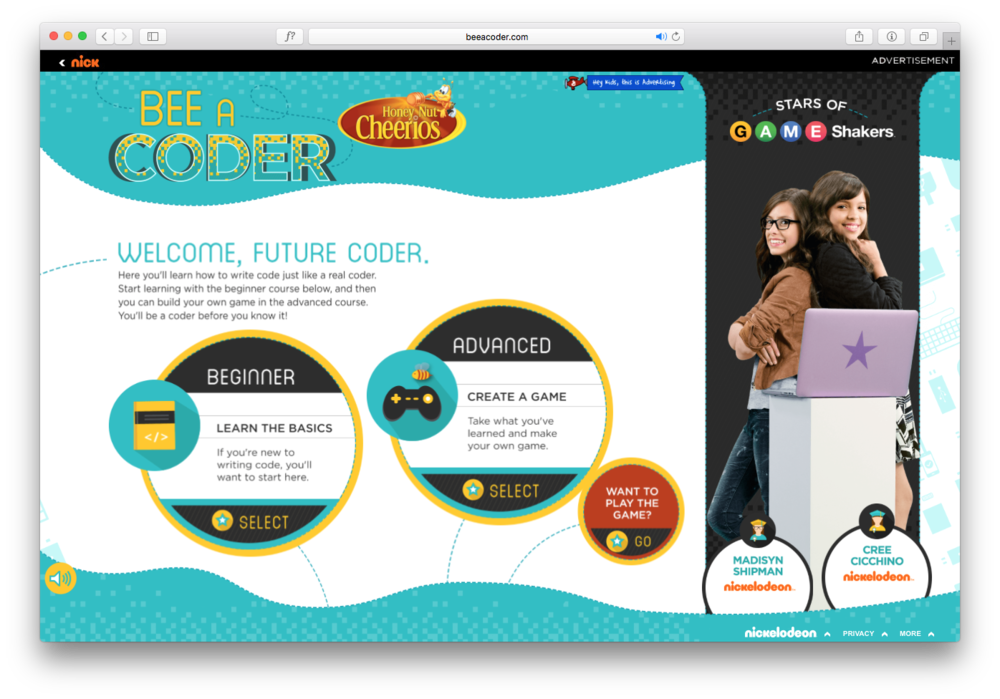 Design work for Cheerios Bee A Coder website