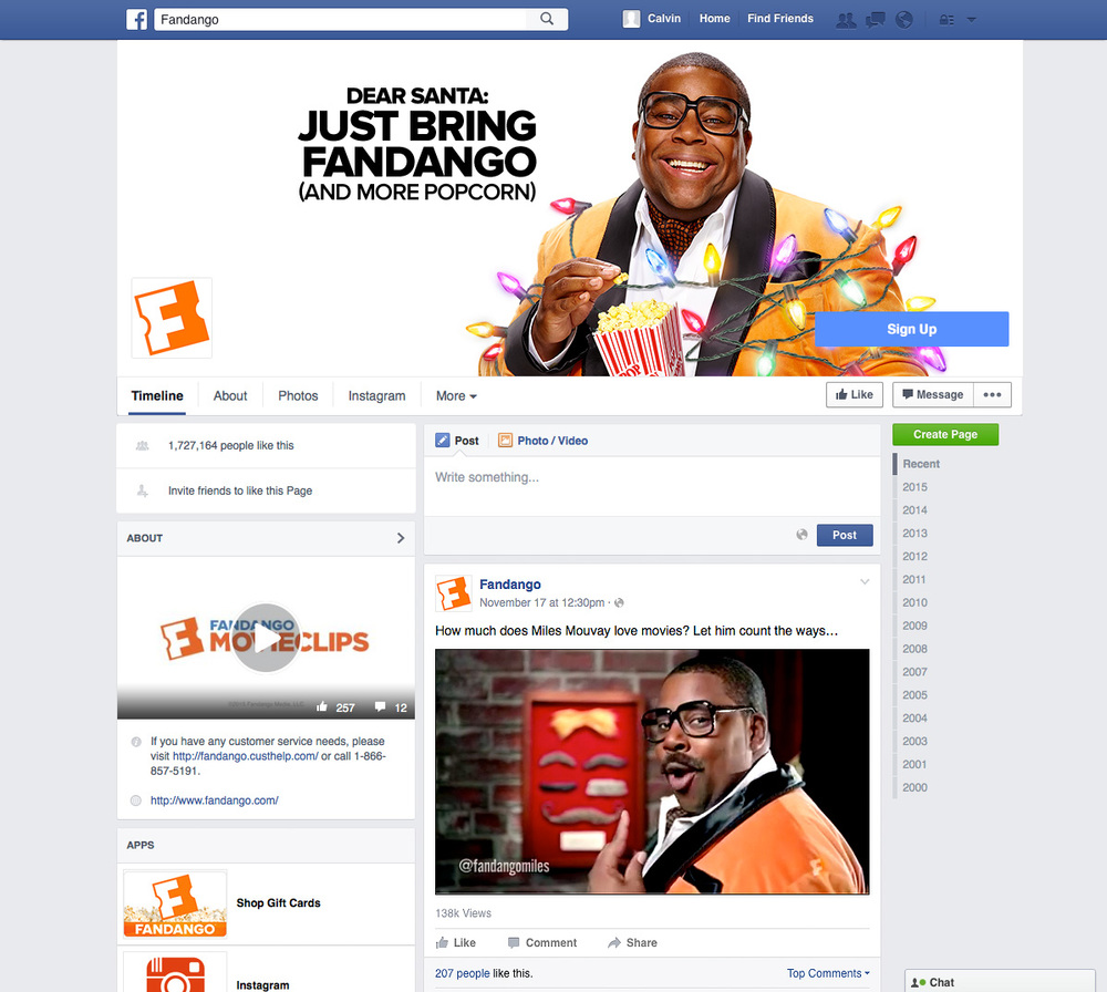 Designed Fandango Facebook, Instagram & Twitter pages for the Miles Mouvay campaign.