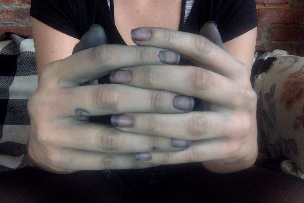 dyed things black, hands dyed black