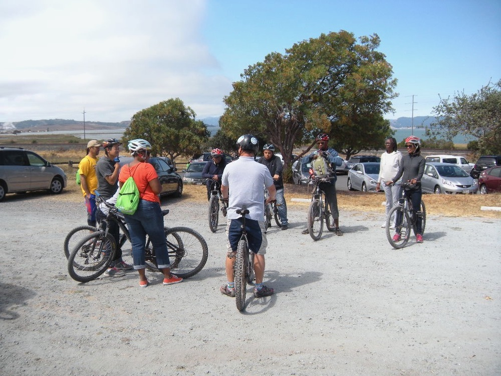 Getting ready for the bike ride on a beautiful trail at Pinole Point Regional Park, California