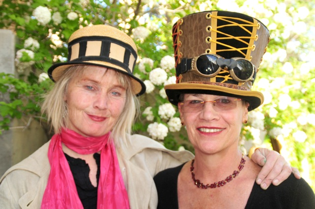 Cyndy and Val take a breather during the Steampunk gala for the Santa Fe Children's Museum.