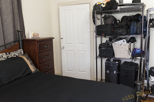 The ugly side of my bedroom, yes those shelves are ALL camera gear (hair and makup kits are on the bottom).  I NEED to re organise and destash it *sigh*  How will I ever part with anything, I LOVE it all!