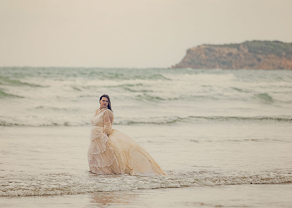 One of our gorgeous vintage wedding gowns being used in a love the gown session at Ocean Grove in Victoria.