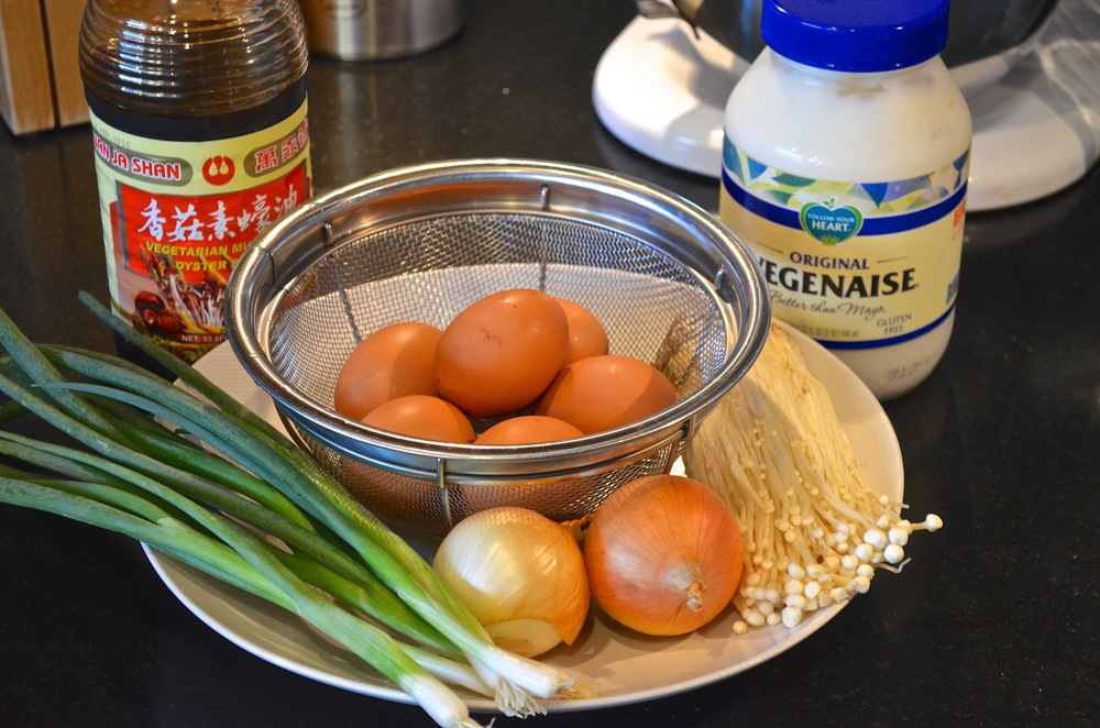 Prepping for Japanese Omelet (Okonomiyaki).