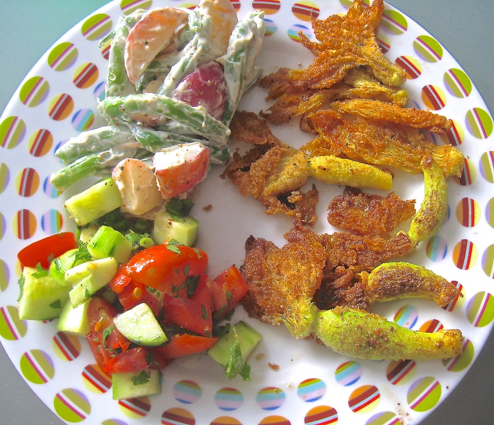 Summer Garden Plate: 'Cots & Tots (upper left), Fried Squash Blossoms (right), Cucumber Tomato Salad (left)