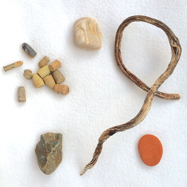 Findings Collection 4 - Bullets, beach rocks, and driftwood from Ojai & Ventura, California