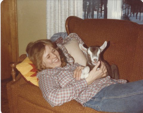 My mom, Kathrine, with our goat Jack as a kid.