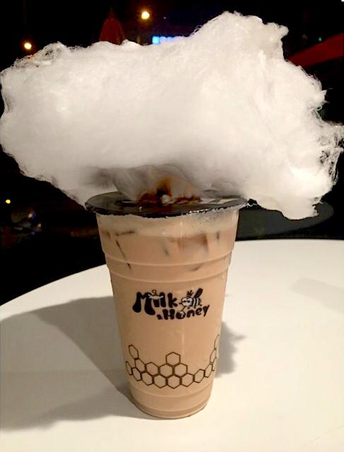 Cotton candy milk tea at Milk & Honey