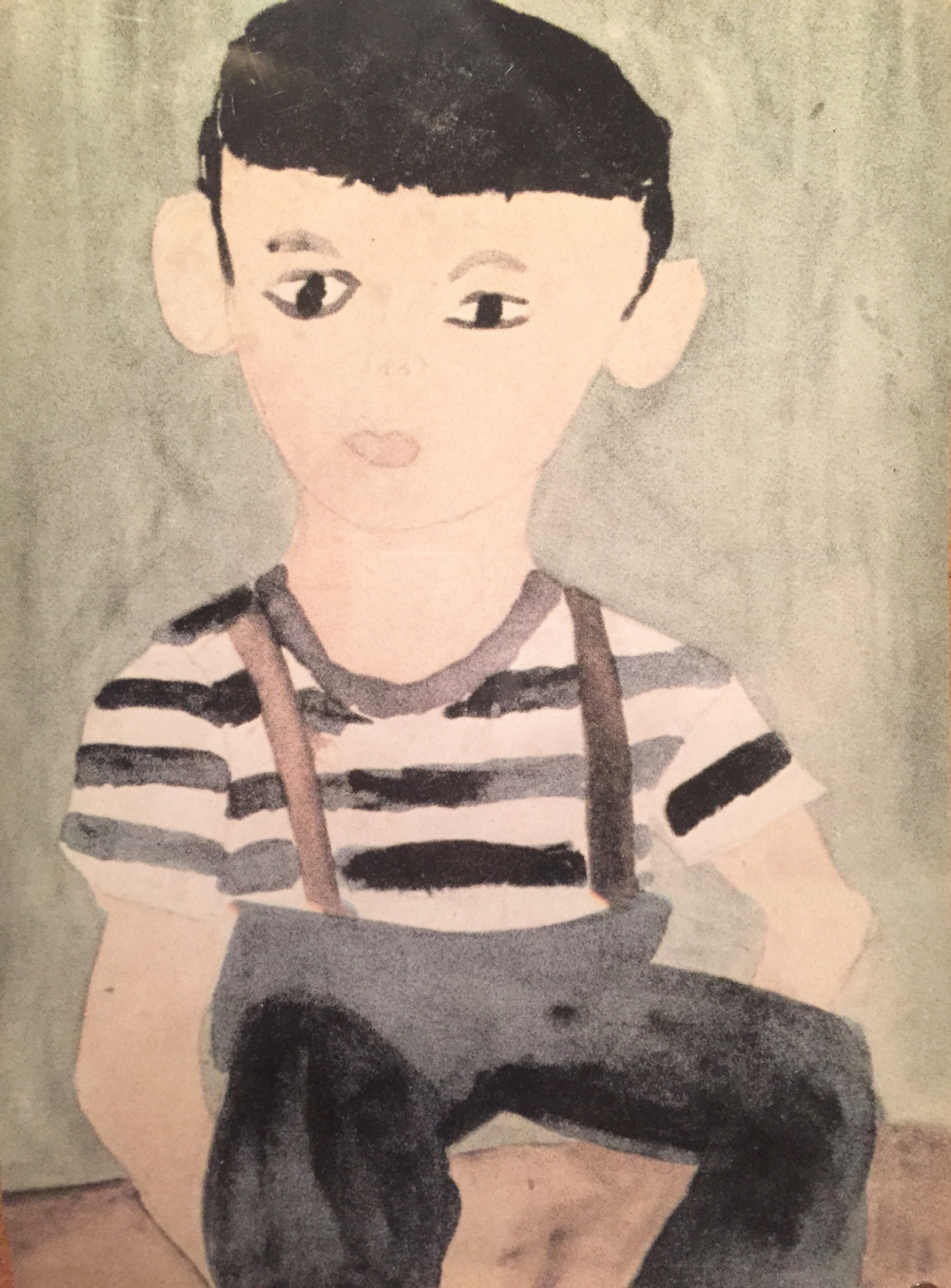 "I absolutely adore this ""self-portrait of a young boy"" painted by an unidentified child at the Topaz internment camp in Utah."