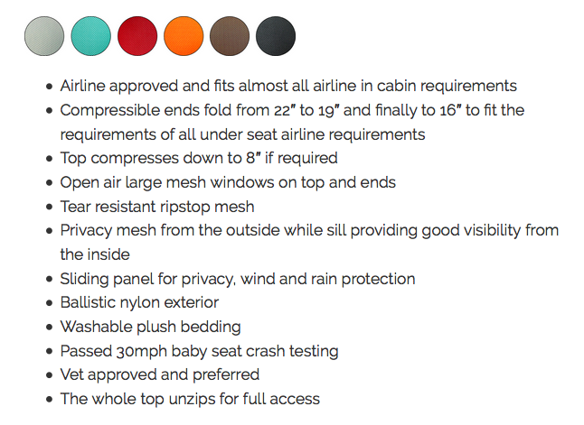 Sleepypod Air color chart and feature list via Sleepypod.com
