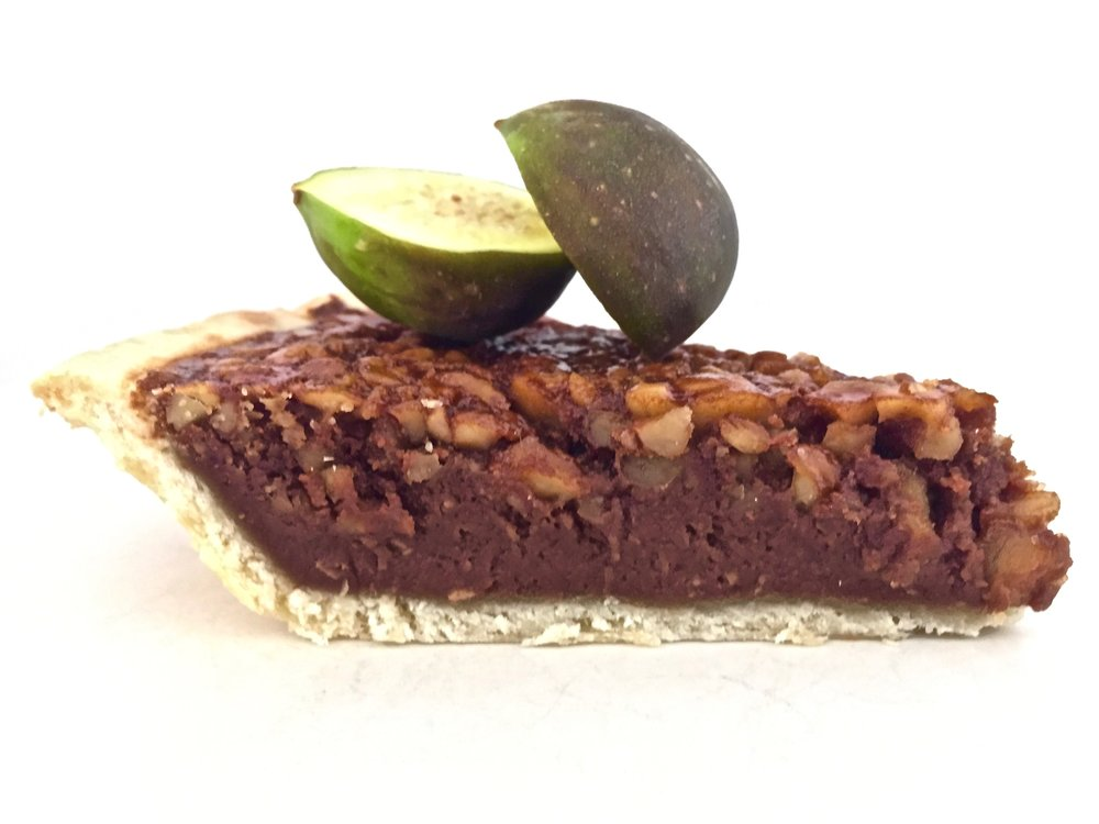 Chocolate Walnut Chess-Adjacent Pie served with garden fresh Turkish figs - ProvinceJournal.com