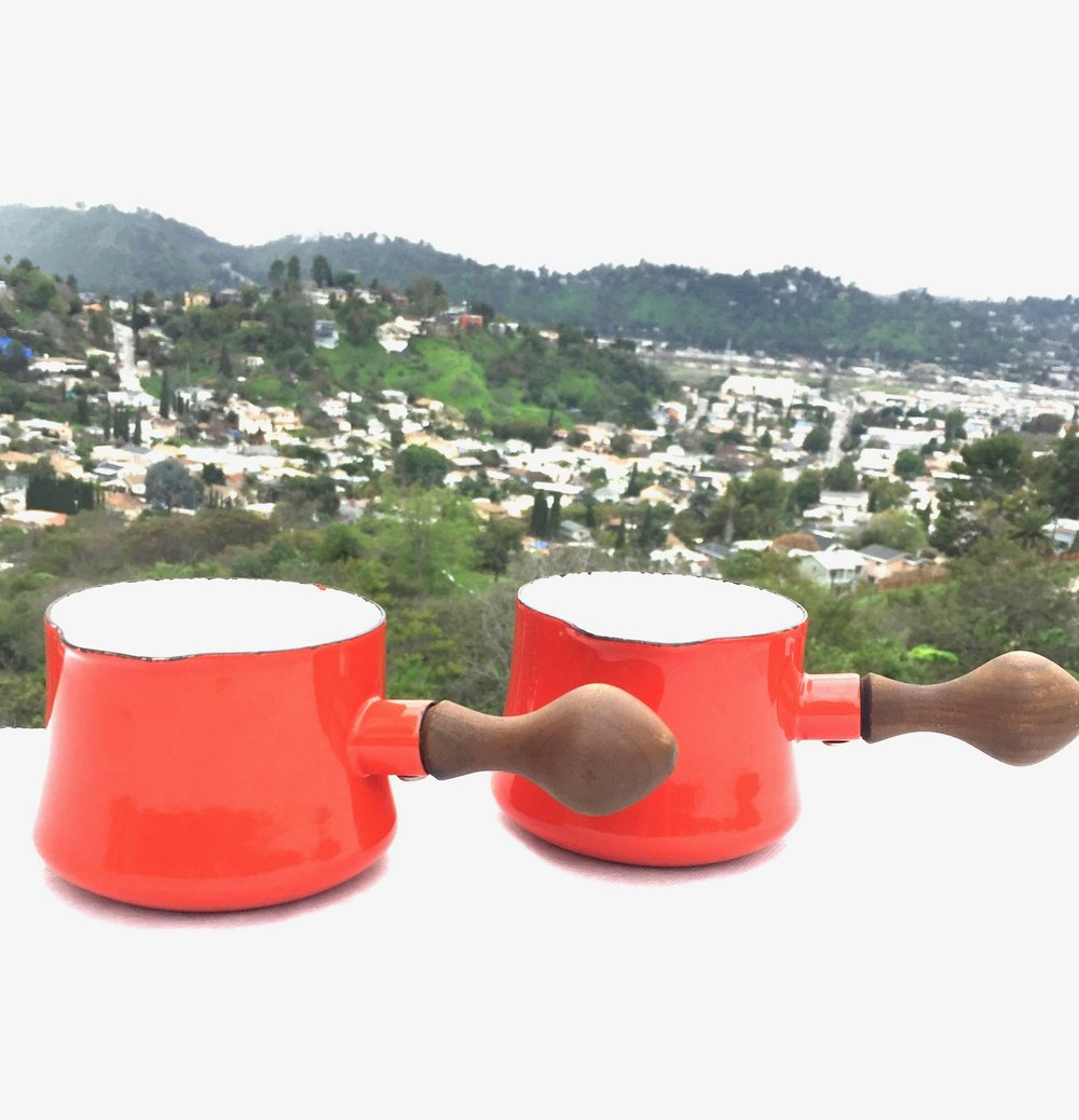 Pair of midcentury Dansk enamelware saucepans - Click photo to purchase on Etsy