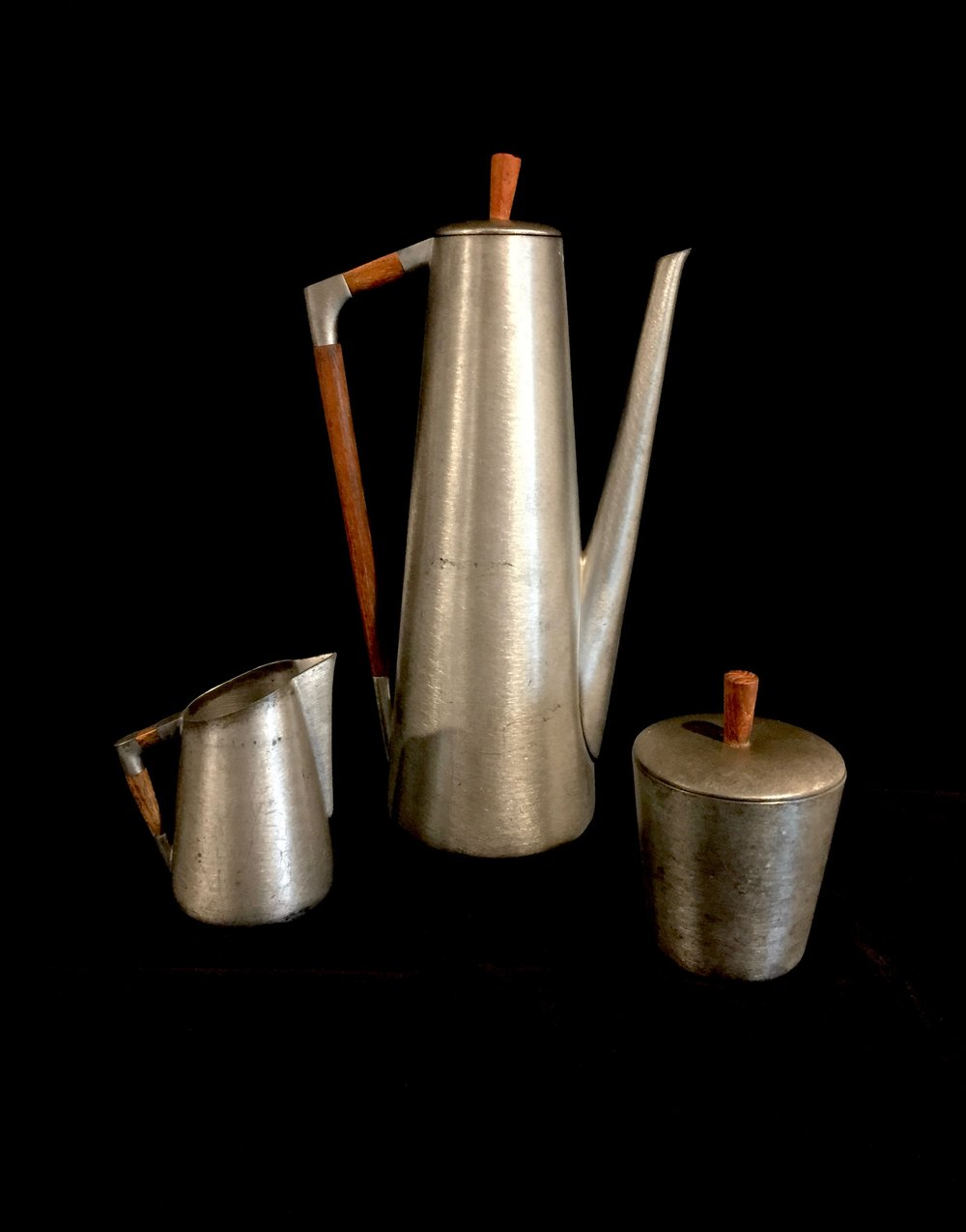 Iconic Midcentury Coffee Serving Set - Pewter and Teak - Made by Royal Holland - Click to view on Etsy
