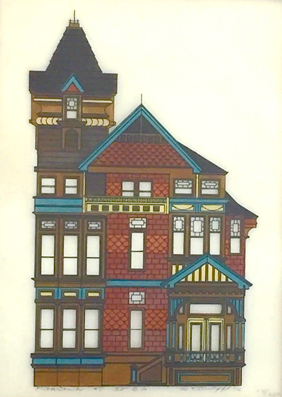 - I can't find any information about this lovely signed Victorian house print.It is numbered 14/200 and appears to be a tinted print on vellum paper. The painted translucent vellum is thoughtfully layered over an ivory paper layer, giving the clear windows of the house depth and shadow. The print has the title