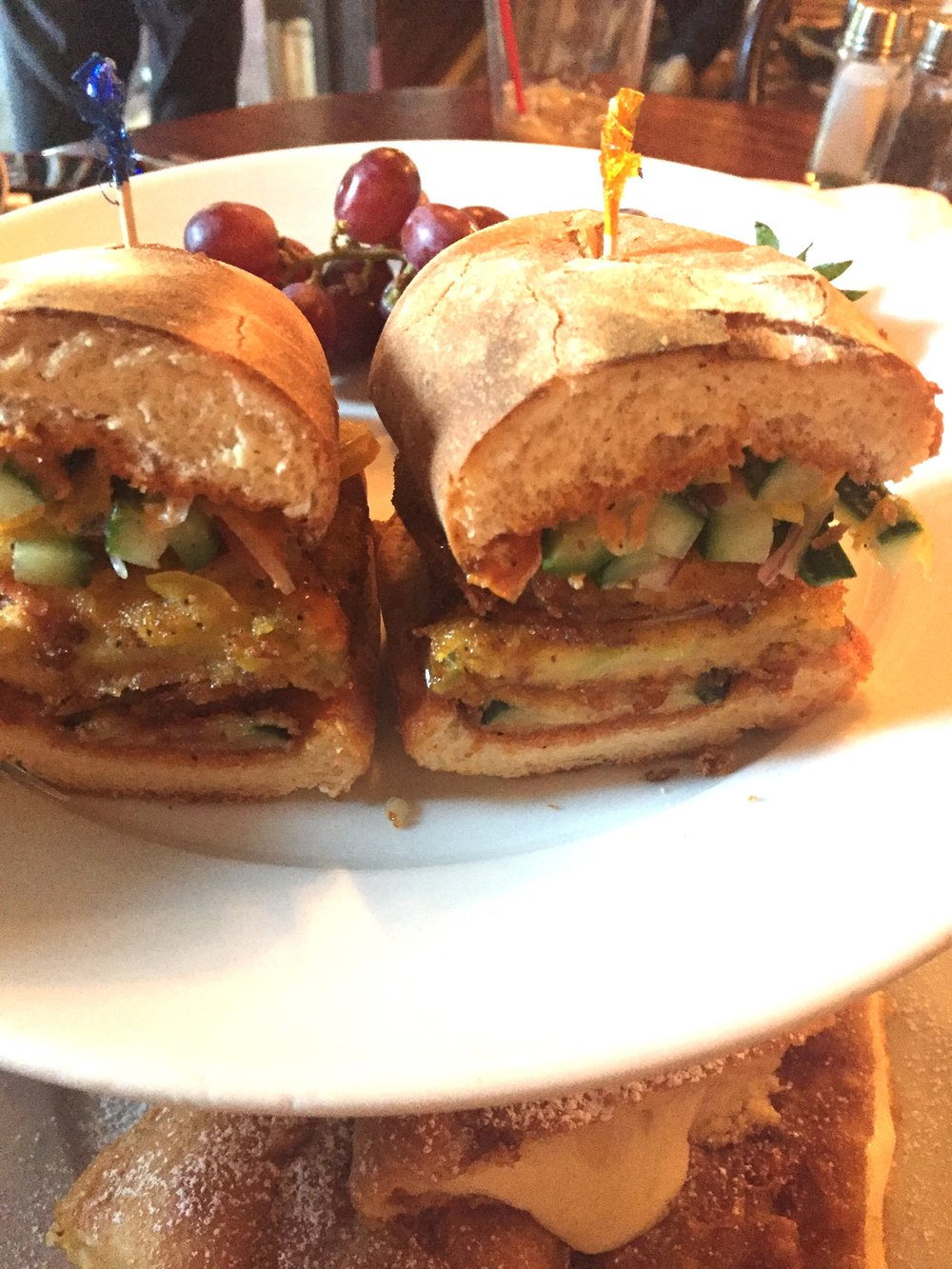 The fried green tomato sandwich at Cafe Orleans. Too much bread and not enough flavor.
