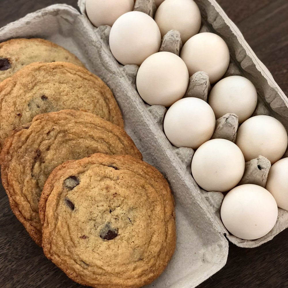A happy duck is a happy kitchen. Our Pekin hen lays an egg a day. It only took one duck egg to make a dozen rich and chewy Pan-Banging Chocolate Chip Cookies ( recipe via The Vanilla Bean Blog ). That left us with a dozen more for making salt-cured egg yolks...