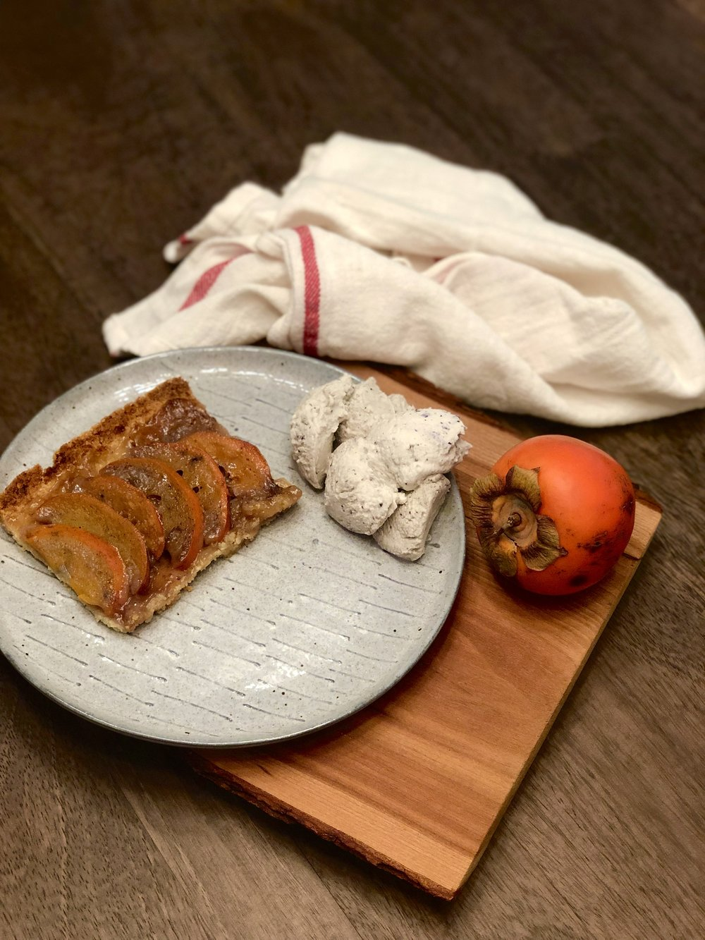 Another couple that day brought us a bag of persimmons so I used them along with the Meyer lemon juice to bake a five-spice persimmon tart. We've been eating it with mounds of wild blueberry whipped cream. Recipe below.