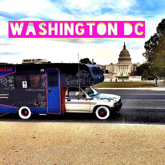 We completed our 48 Capital cities goal and wound up here in Washington DC on Election Day 📢🇺🇸✌️ Thanks for the ongoing epic support America, wouldn't, couldn't be here without it🌟🌟🌟🌟🌟 #loveyouamerica #history #america #usa #love #independent #writeinpresident #washintondc #firstlady #capitalcitiestour #dc #everybodyispresident