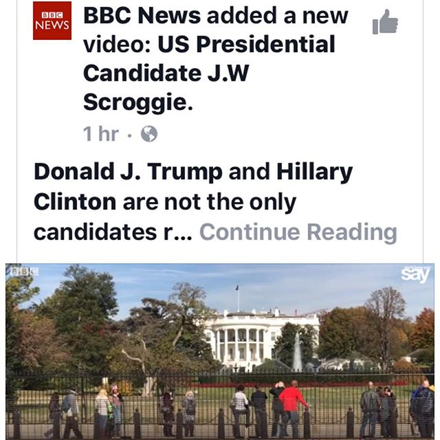 Thank you BBC for giving a voice to third-party candidates🙏🌟🌟 #BBC #bbcrocks #2016election #election2016 #realnews #news #presss #scroggie16 #everybodyispresident #usa #writeinpresident #independent