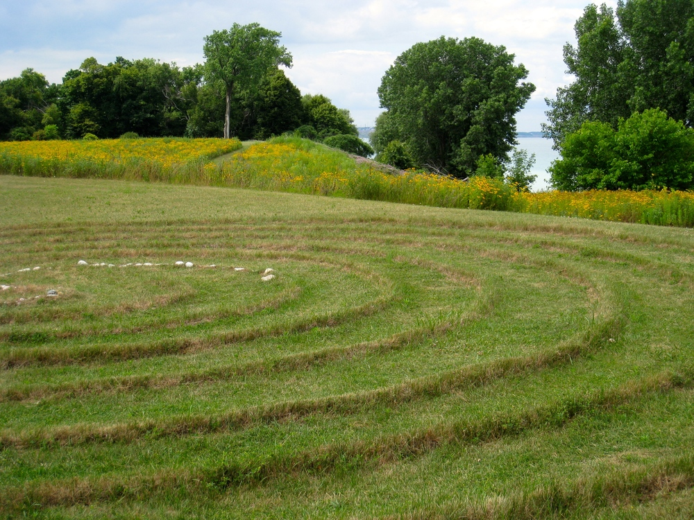 A walking labyrinth is situated by the shores of Lake Michigan at Siena Retreat Center, Racine, Wis., where people find strength and nourishment for their spiritual journey. Learn more about Siena Center  here .