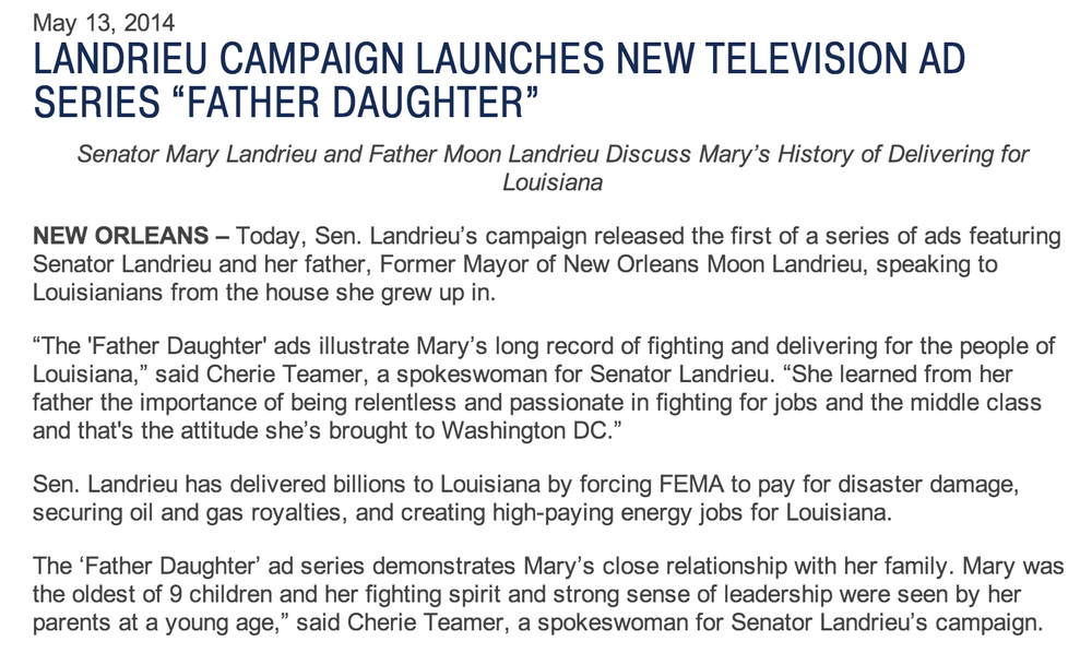 """Exhibit H5 - LANDRIEU CAMPAIGN LAUNCHES NEW TELEVISION AD SERIES """"FATHER DAUGHTER"""" _ Mary .png"""