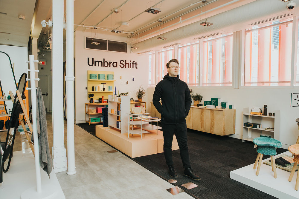 Jordan Darbishire photographed at Umbra's flagship store in Toronto.