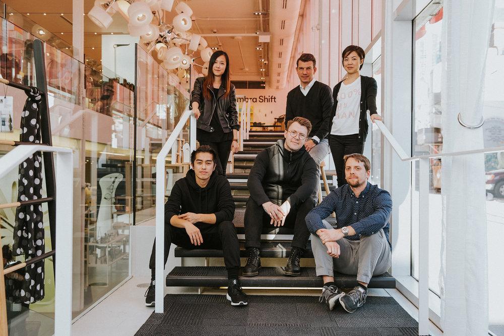 Jordan Darbishire (centre) with the Umbra Catalog Team. From left to right:Jeremy Yeung ,Carri Han, Florian Müller, Jennifer Pau, Adam Szpruta.