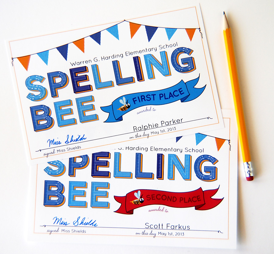 Spelling Bee Printable Award Certificates Judy Havrilla