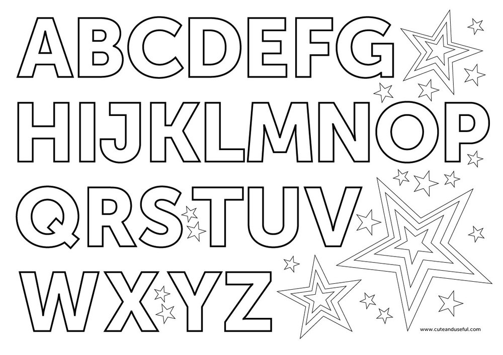 English Alphabet Coloring Pages-Judy Havrilla