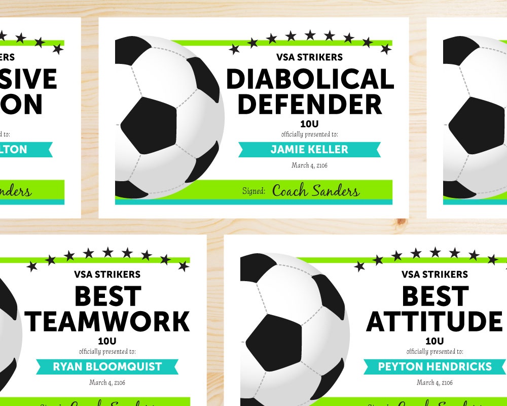 heres a list of soccer award categories you can use in your award certificates the award certificates shown are editable and available for instant