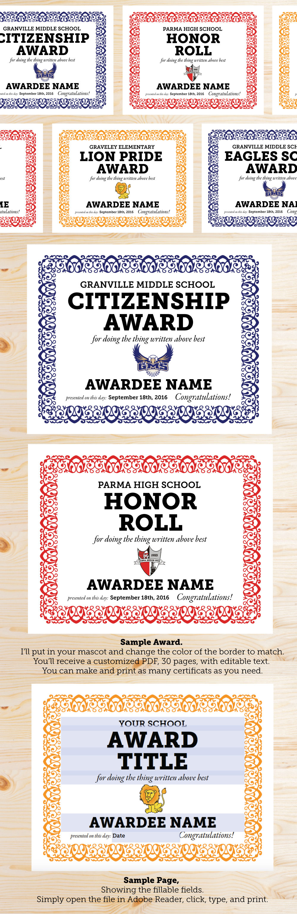 New Custom Editable School Award Certificates Judy Havrilla