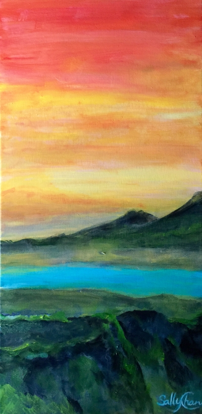 """Watching Sunset ( In Here), 12"""" x 24"""", Acrylic on Canvas"""
