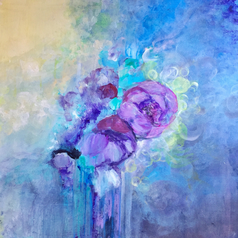 """Peonies In The New Year Morning, 30 """" x 30 """", acrylic on canvas"""