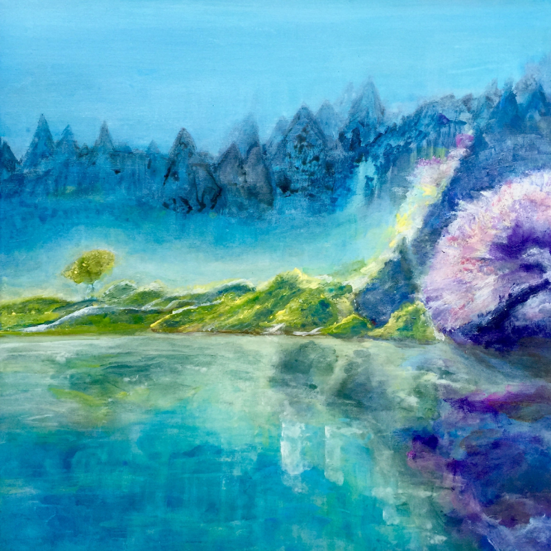 """See You By The Lake, 30 """" x 30 """", acrylic on canvas"""