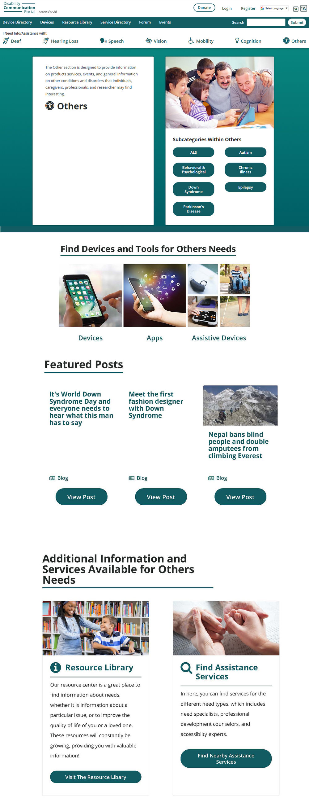 Example 2: The main category landing page - This is one of the seven main disability categories pages. All the subcategories are accessible from here, along with featured posts under the same category.