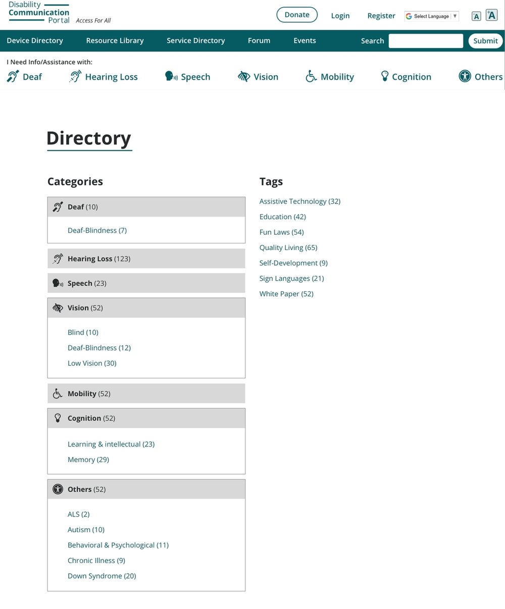 This is the mock of the actual directory page, which is linked from the Resource Library Landing Page.