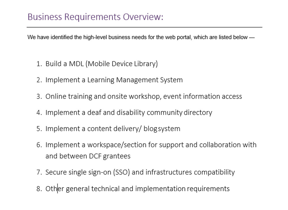 The requirements overview from the RFP.