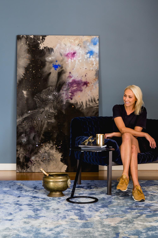 Katie to side Seaspray rug Crown of Thorns painting DOMO.jpg