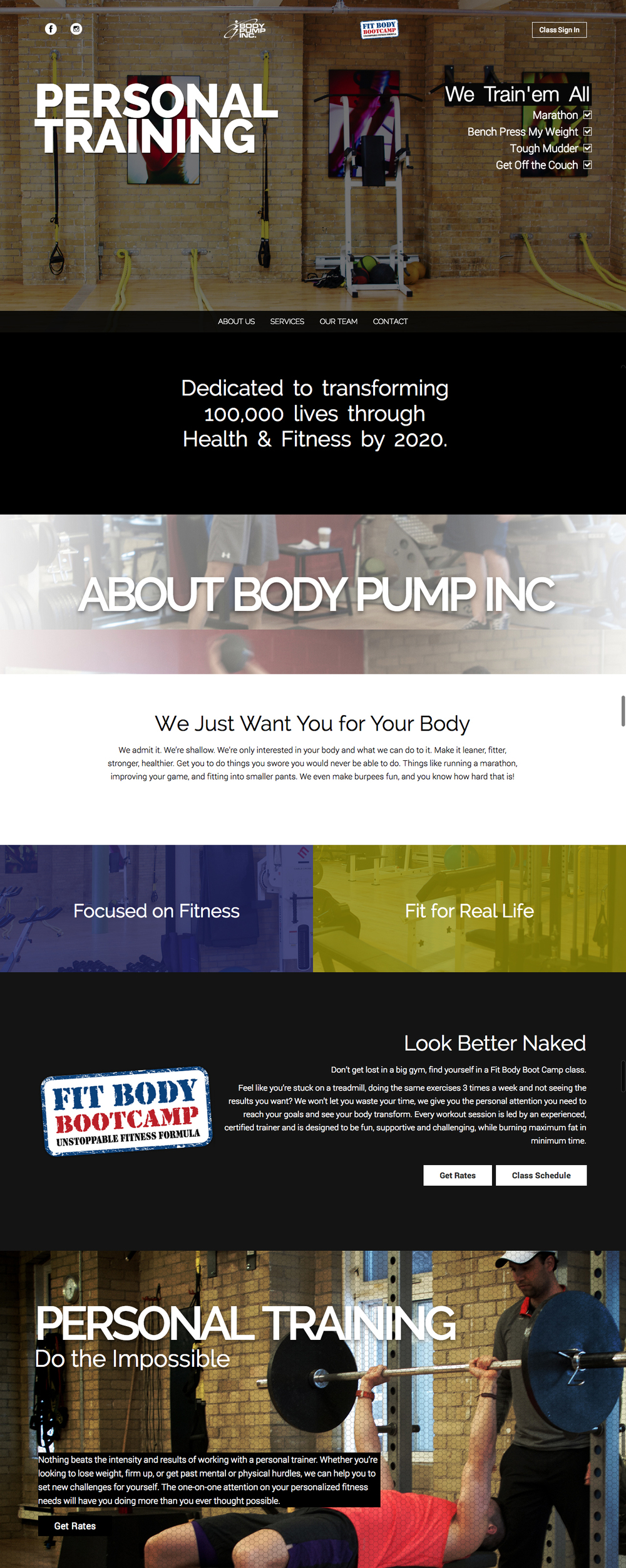 Body Pump Gym Website