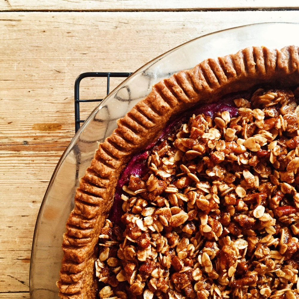 Purple Sweet Potato Pie with Pecan Streusel